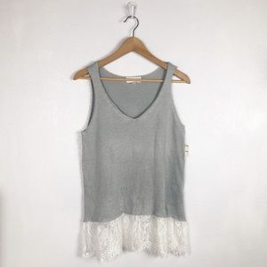 Cloud Chaser knit gray tank with lace detail